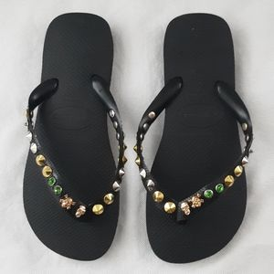 Havaianas Black Studded Silver Gold Green 39-40